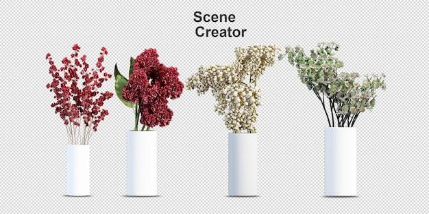Комнатные растения цветы в 3d-рендеринге изолированные