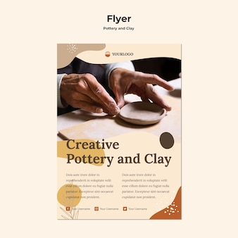 Pottery and clay flyer template