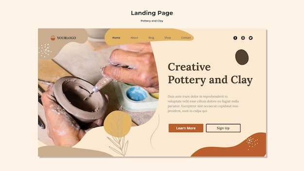 Pottery and clay landing page template