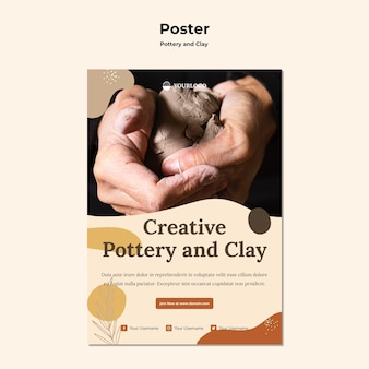Pottery and clay poster template