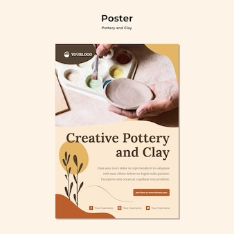 Pottery and clay template poster
