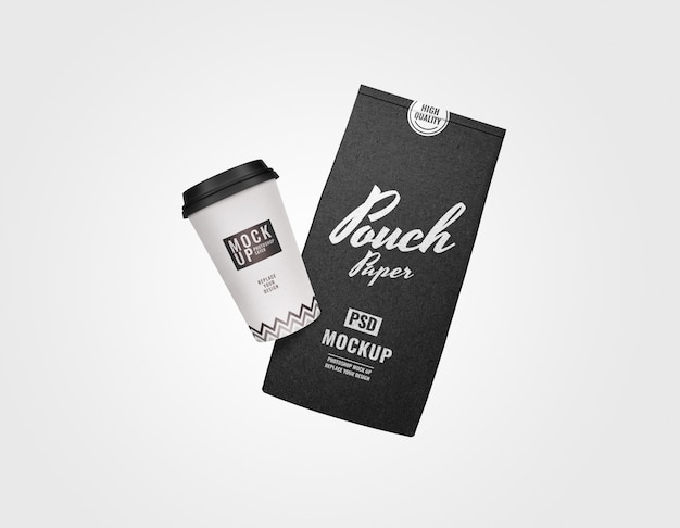 Pouch and coffee set advertising mockup