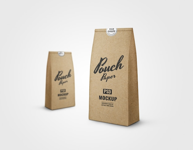 Pouch craft paper realistic rendering mockup