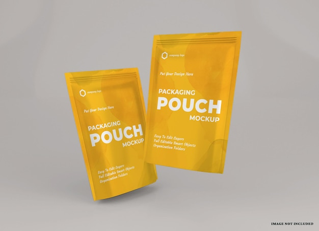 Pouch package mockup design isolated