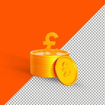 Золотая монета фунт 3d визуализации