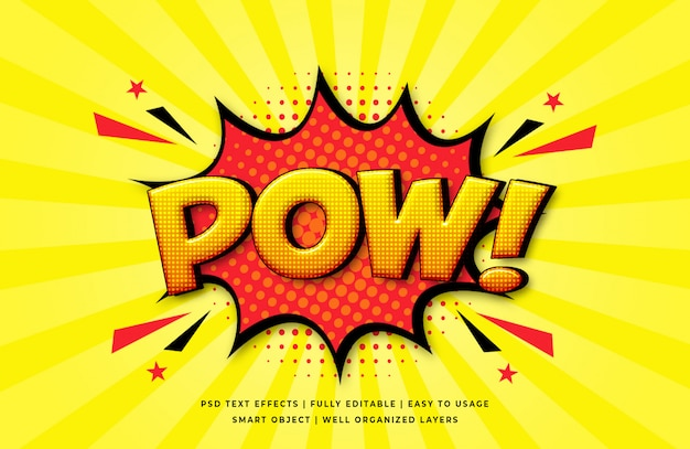 Pow comic speech 3d text style effect