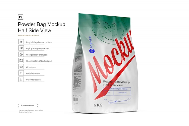 Powder bag mockup half side view 6kg