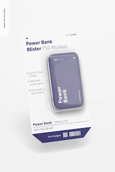 Power bank blister mockup, falling