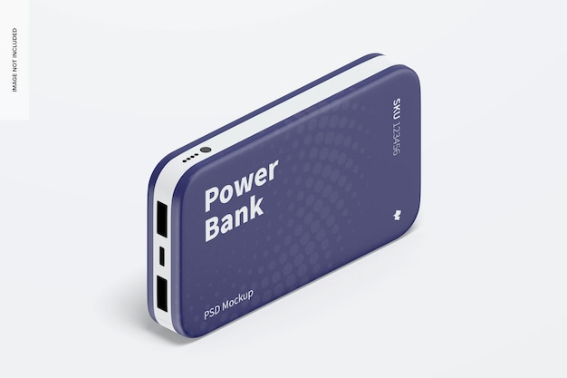 Power bank blister mockup, isometric view