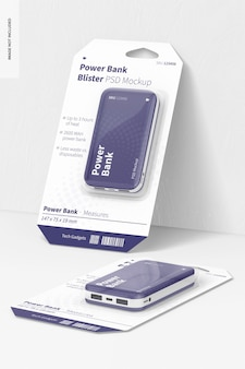 Power bank blisters mockup, leaned and dropped