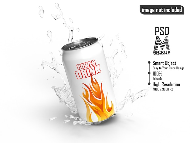 Power drink tin splashed water mockup