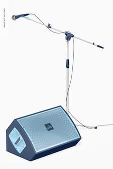 Altoparlante amplificato e microfono mockup