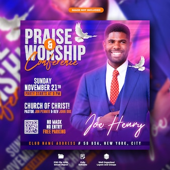 Praise and worship conference flyer and social media post templat