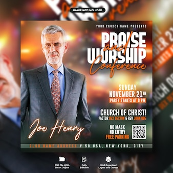 Praise and worship conference flyer and social media post template
