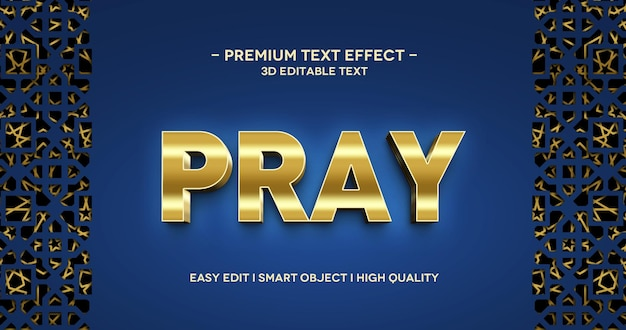 Pray 3d text style  effect template