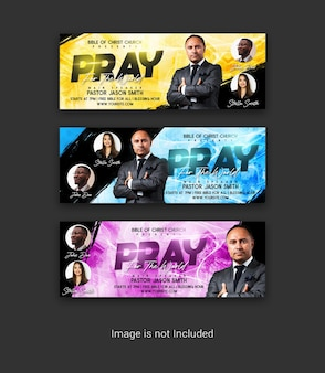 Pray for the world facebook cover psd template