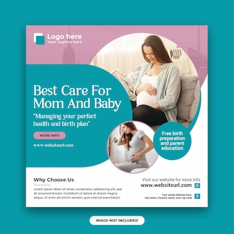 Pregnancy and childbirth clinic social media post and web banner design template