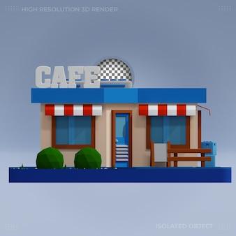 Premium 3d cafe building 3d rendering