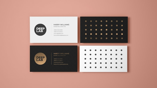 Premium business card with editable background color mockup