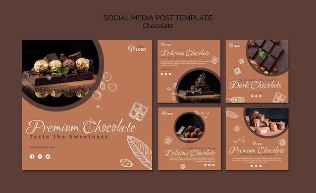 Post sui social media al cioccolato premium