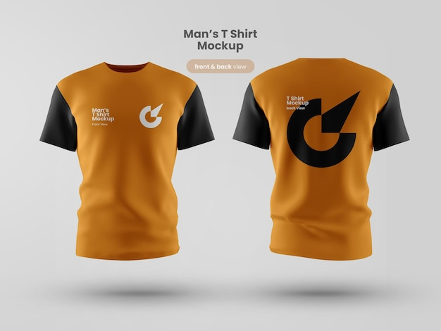 Premium customizable t shirt psd mockup back and front view