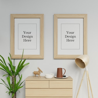 Premium double poster frame mock up design template hanging portrait in interior space