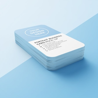 Premium editable stack of 90x50 mm portrait business card with round corner mock up design templates in lower perspective view