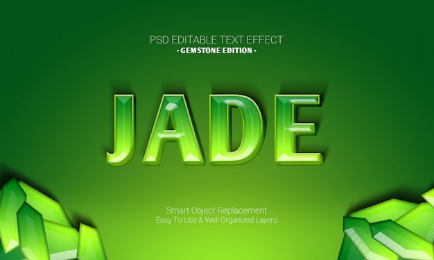 Premium graphic desgign software editable 3d text effect in gemstone edition of green jade shiny design