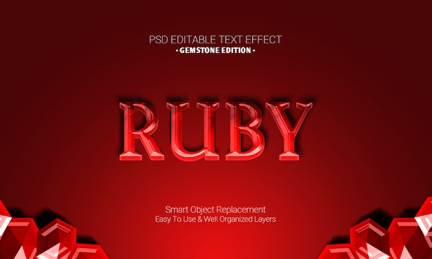 Premium graphic desgign software editable 3d text effect in gemstone edition of red maroon ruby shiny design