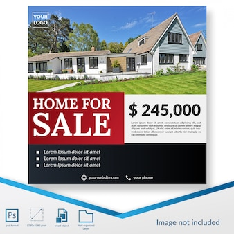 Premium home for sale offer social media post template