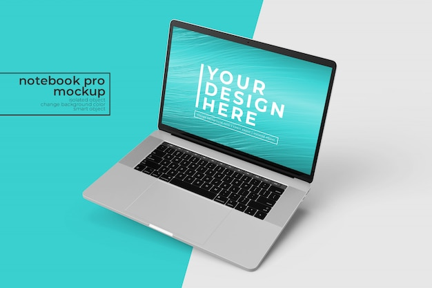 Premium mobile notebook pro psd mockup design s in right tilted position in top right view
