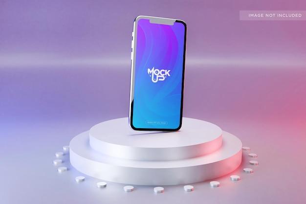 Премиальный дизайн макета экрана мобильного телефона на подиуме