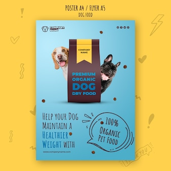 Premium organic pet food poster template