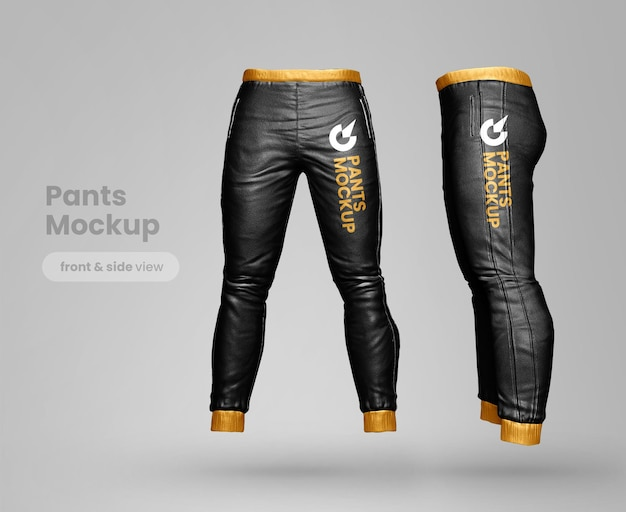Premium pants mockup front and side view
