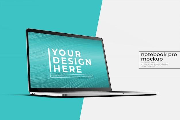 プレミアム品質の15'4インチラップトップノートブックプロ、ウェブサイト、ui、アプリの左側のフロントビューでモックアップ