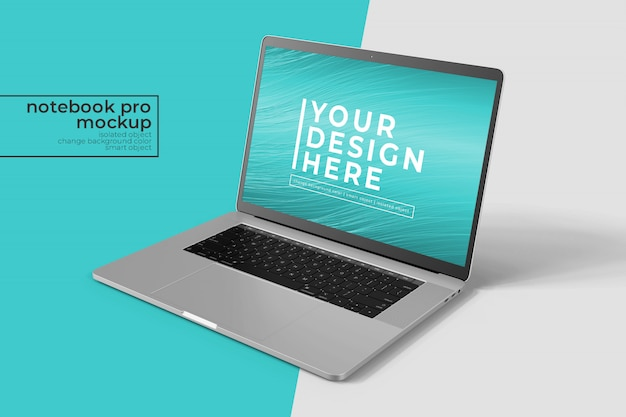 Premium quality 15 inch notebook pro for web and apps   mockup  in front right view