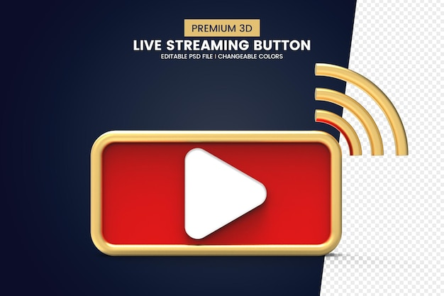 Premium quality 3d live streaming button design isolated