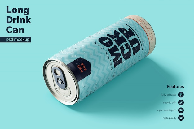 Premium quality resting and leaning front aluminium beverage can mock ups template