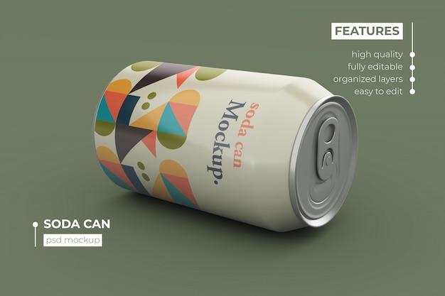 Premium quality soda can mockup design