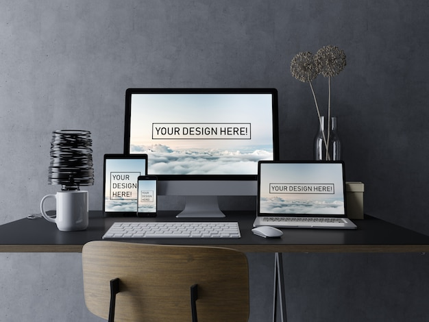Premium set devices pc, laptop, tablet and smartphone mockup design template with editable screen in black elegant workspace