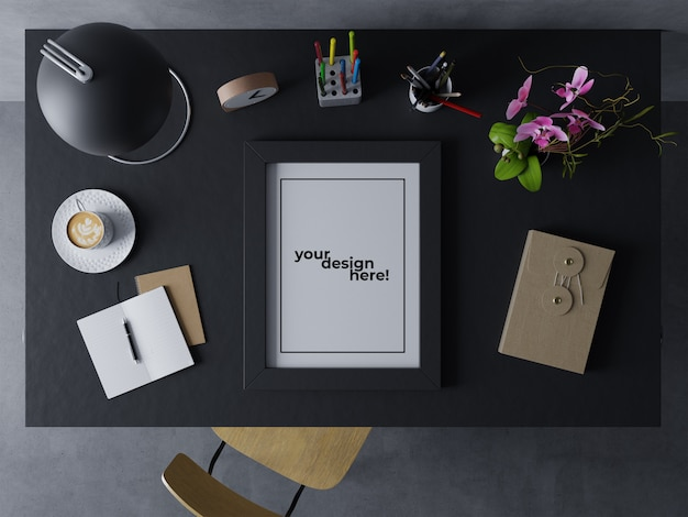Premium single poster frame mock up design template resting portrait on elegant desk in modern indoor workspace