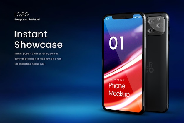 Premium smartphone mockup with back logo mockup