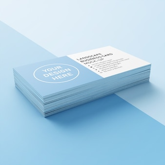 Premium stack of 90x50 mm horizontal business call card with sharp corners mockup design template in lower front 3/4 view
