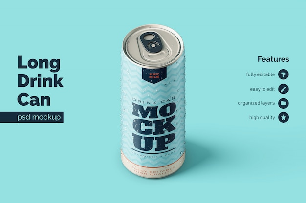 Premium standing long aluminium drink can mockups templates in orthographic front view
