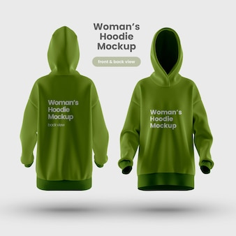 Premium womans hoodie mockup front and backview