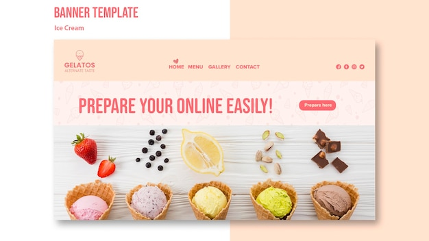 Prepare your online ice cream banner template