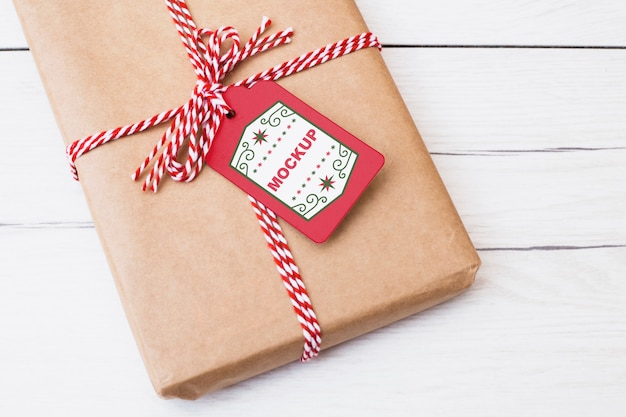 Present box mockup with christmas concept