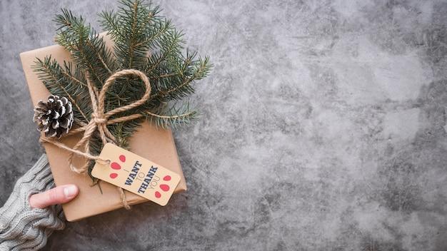 Present box mockup with christmas concept