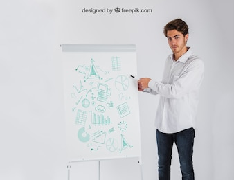 Presentation concept with businessman