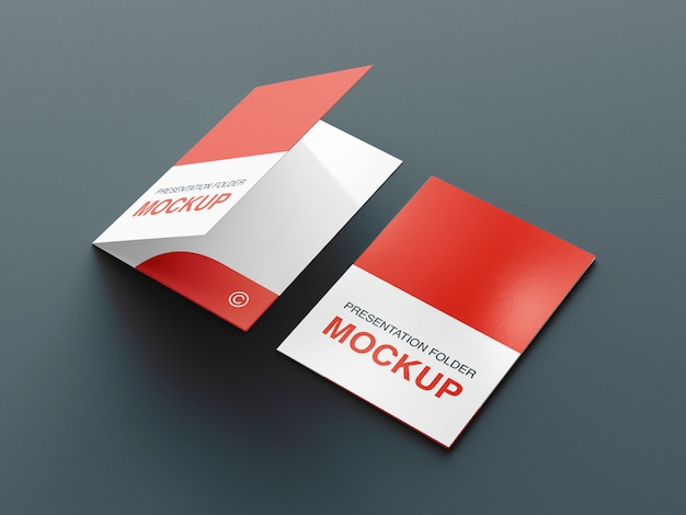 Presentation folder or bifold brochure mockup design template